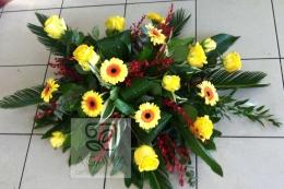 Palma pogrzebowa z Róży i Gerbery -żółte