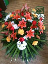 Palma pogrzebowa z Tulipana, Lilii, Róży i Margaretki